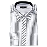 (ミチコロンドン)MICHIKO LONDON 形態安定 ワイシャツ スリム 長袖 2016年秋冬モデル綿高率 G.ホワイト×ブラックストライプ 3L(45-88cm)