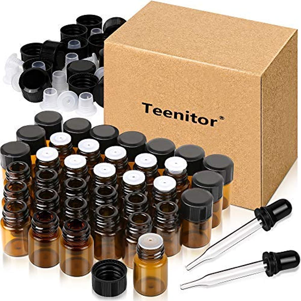 Oil Bottles for Essential Oils, Teenitor 36 Pcs 2 ml (5/8 Dram) Amber Glass Vials Bottles, with Orifice Reducers...