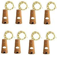 8パックワインボトルランプストリングライトコルク銅線妖精ライト暖かい白2 M / 20 LEDバッテリーパーティーのために電池式、結婚式、クリスマス(暖かい白)