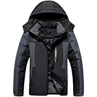 4How Men's Mountain Jacket Waterproof Hooded Fleece Ski Coat Outdoor Black