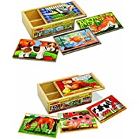 Melissa & Doug Learning Toy Wooden Pets and Farm Box Puzzle Bundle Pleyset Toy for Kids