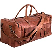 TUZECH Handmde Vintage Real Leather Duffel Bag Large 30 inch Travel Bag Gym Sports Overnight Weekender Air Cabin Bag