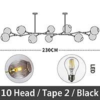 51BuyWorld 分子シャンデリア北欧アートLEDランプパーソナリティクリエイティブランプポスト - モダンな照明のレストランのシャンデリア,ブラック,10 頭 / タイプ 2