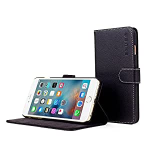 英国Snugg iPhone6 Plus用 PUレザー 手帳型 ケース カバー 生涯補償付き(ブラック)