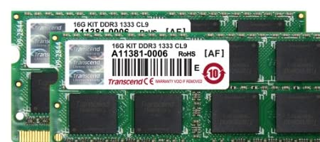 Transcend JetRam ノートPC用増設メモリ PC3-10600(DDR3-1333) 16GB KIT(8GB x 2) 永久保証 JM1333KSH-16GK
