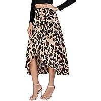 Verdusa Women's Waist Knot Leopard Print High Waist Wrap Split Skirt