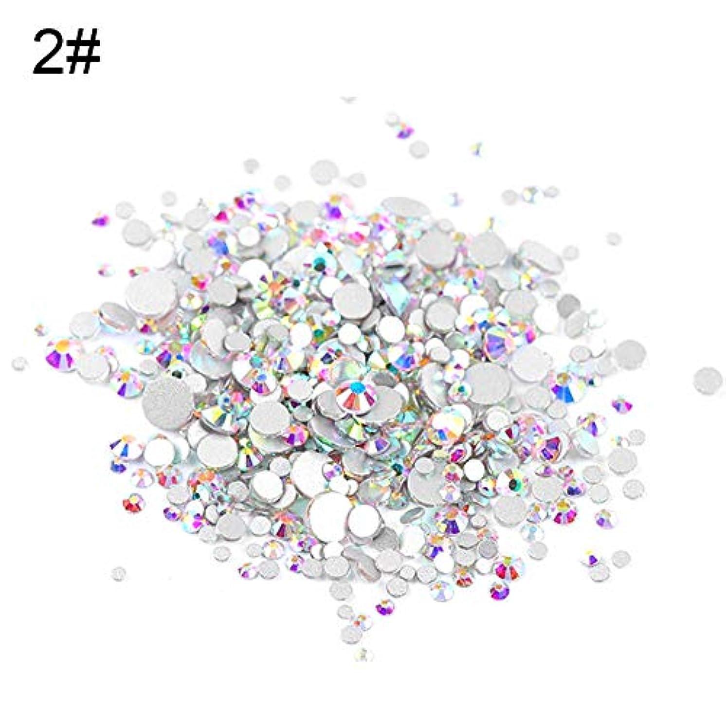 半円スマッシュ強打slQinjiansavネイルアート&ツール修理ツール1440PcsグリッターDIY 3Dフラットネイルアートラインストーンスパンキンデコレーションマニキュアのヒント - 1#