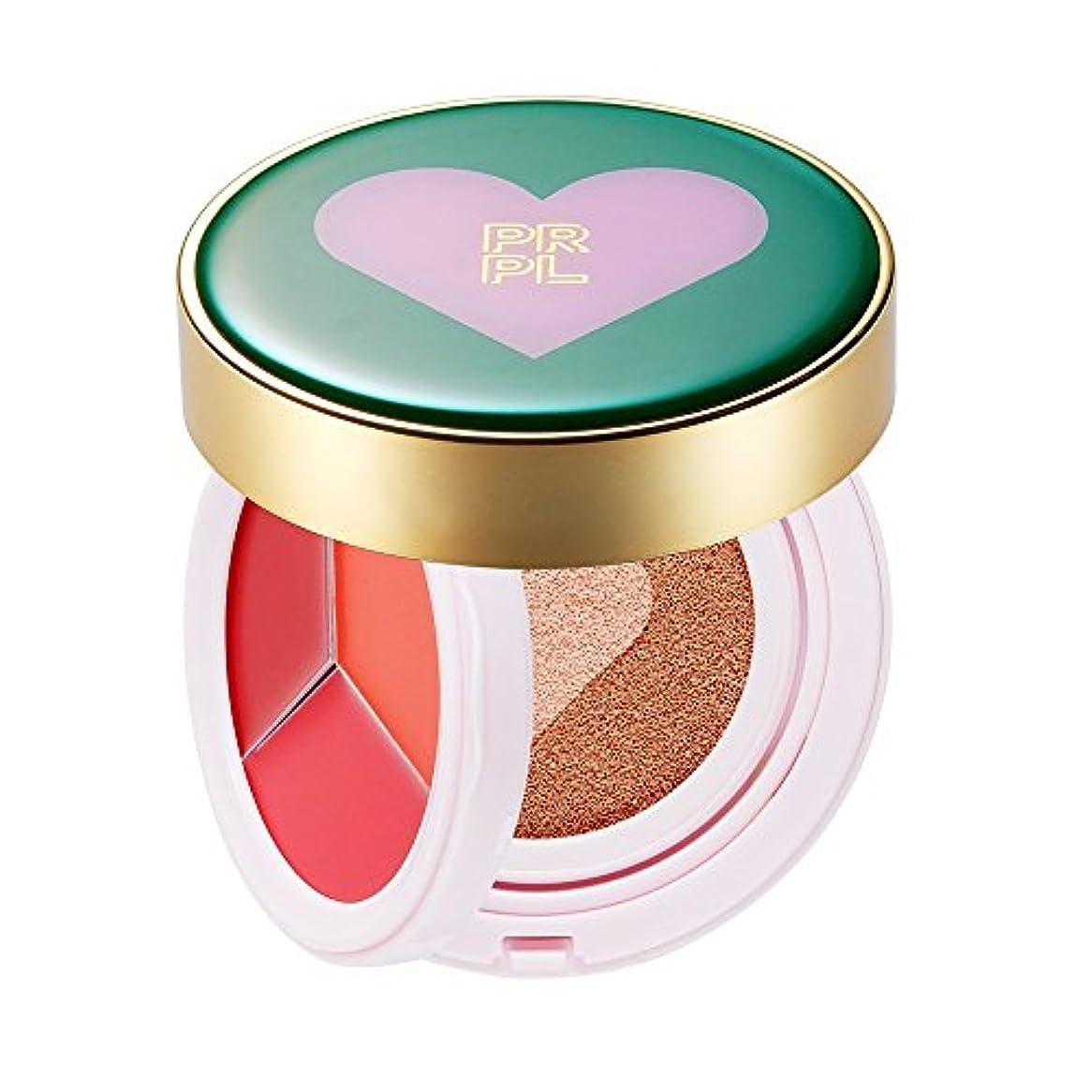 プレート過度のスイPRPL Kiss&Heart Cushion (Lip Glow Pink/Lip Glow Orange/Lip Glow Red) Triple Heart Cushion Compact (SPF50+, PA+...
