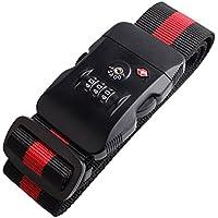 AmazingJP スーツケースベルト 長さ調整 ダイヤルタイプ 旅行 出張用 TSA ネームタグ付き 赤×黒