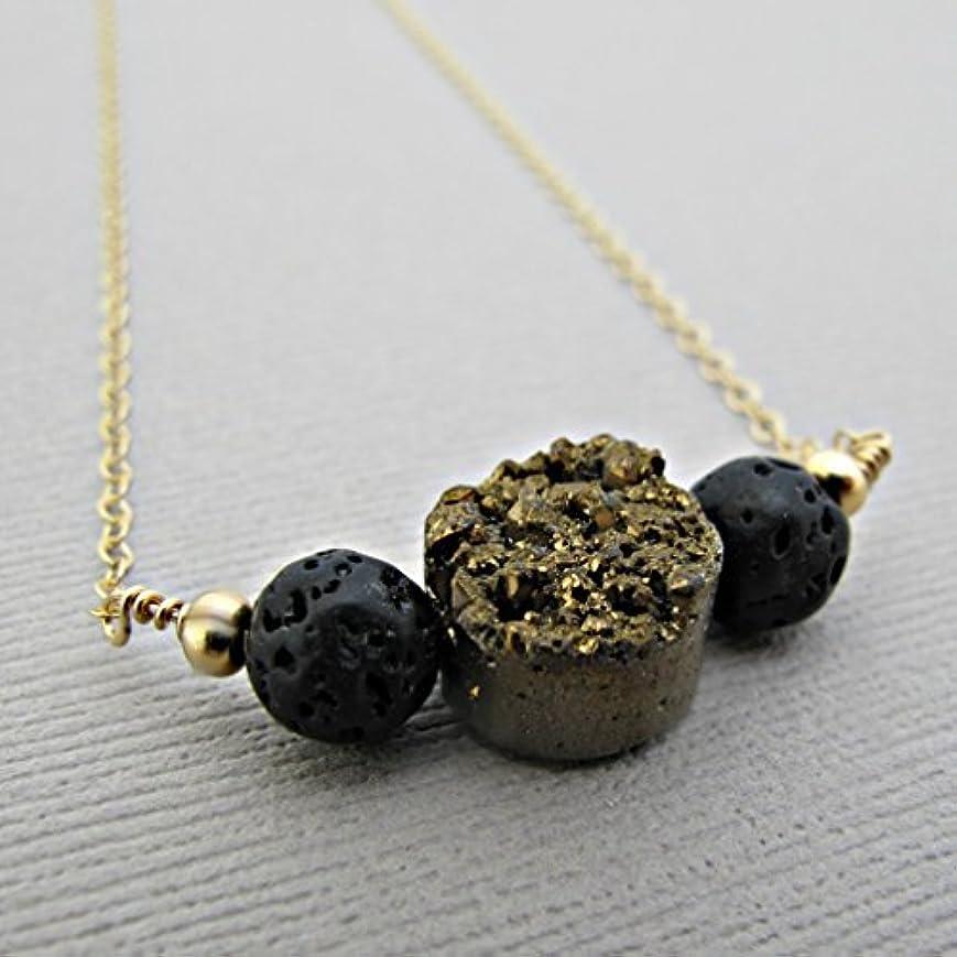 親指かご先史時代のGold Druzy Lava Pendant Essential Oil Necklace Diffuser Aromatherapy - Simple Minimalist Lava Bead Diffuser Necklace...
