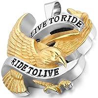 Flongo ネックレス 「Live to Ride」 ペンダント 飛んでいる鷹 パンク系 アンティーク チョーカー ステンレス 金色