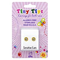 STUDEX Tiny Tips Stud Earrings Gold Plated Bezel Hypoallergenic for Little Ears 3mm Cubic Zirconia