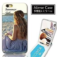 301-sanmaruichi- iPhone6s ケース iPhone6 ケース ミラーケース 鏡付き ミラー付き カード収納 おしゃれ サマーガール フォト 外国人女性 海 ビーチ 夏 B