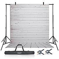 eMart写真ビデオスタジオ10ft調整可能バックドロップスタンド背景サポートシステムキット、5x 305cmビニールプラスチックホワイトウッド床画面の写真