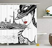 Amxxy スタイリッシュな家の装飾シャワーカーテンセーヌ川のパリのヨーロッパの生活イメージを手描きの女の子の浴室の装飾のメイクに構築します。