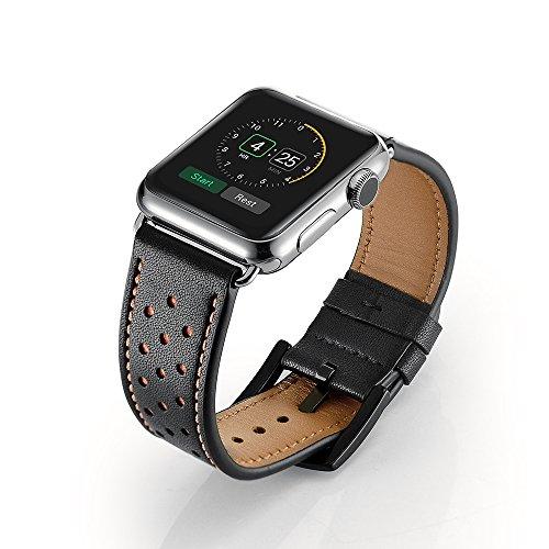 EloBeth Apple Watch バンド 本革ベルトレザー スマートウォッチ for Apple Watch 38mm用 42mm用 アップルウォッチ用 交換バンド Apple Watch Series 6 Single Tour 時計バンド 腕時計ストラップ(42mm,ブラック)