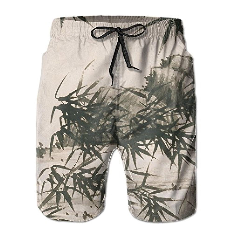 メンズ ビーチショーツ 水着 竹 ショートパンツ サーフトランクス スイムショーツ インナーメッシュ付き 通気 速乾