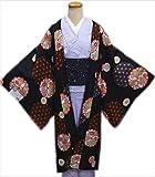 小粋な洗える長羽織黒地大輪花紋雪輪(フリー)和装着物冬の必需品
