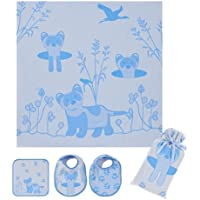 Breganwood Organics Muslin Swaddle, Bib & Wash Cloth Set, Blue Ferret Prairie Collection by Breganwood Organics