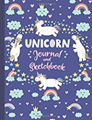 Unicorn Journal and Sketchbook: Journal and Notebook for Girls - Composition Size (7.5