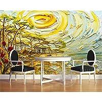 Ljjlm ホーム装飾壁紙ヨーロッパのステレオ風景油絵木日の出壁画テレビの壁壁画3Dの壁紙-280X200CM