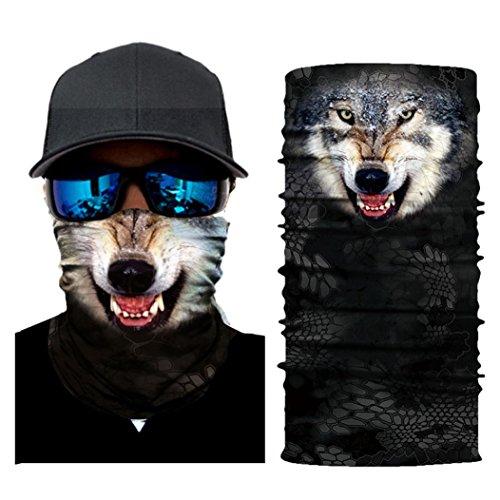 Posmant フェイスマスク 個性的なマスク ハロウィーン 動物マスク 可愛いマスク 防風 防塵 アウトドア バンダナ 多機能チューブ型 男女兼用 春夏秋冬用 (オオカミ)