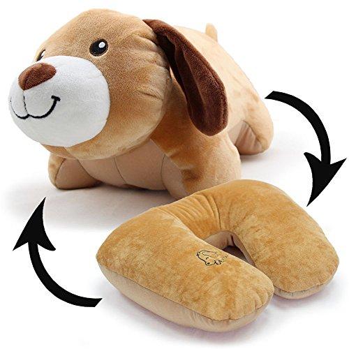 [해외]귀여운 인형 동물 갈색 개 U 자형 목 베개로 변형 가능한 아이 크리스마스 선물 넥 쿠션 발포 입자 U 자형 목 베개 자동차 · 사무실 · 여행 낮잠 베개 다기능 인형 안아 베개 amzmonnsuta/Cute stuffed animal brown dog of the U-shaped neck pil...