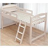 木製ロフトベッド セミダブル 棚コンセント2口付/ホワイトウォッシュ