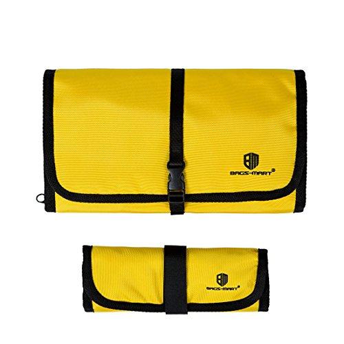 (バッグスマート)BAGSMART PC周辺小物用収納ポーチ 2点セット ゴム・バンド縫い付け イエロー