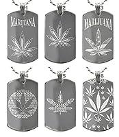 Marijuana Cannabis Weedロゴドッグタグペンダントネックレス犬タグwith Free Back Sideテキスト彫刻