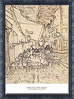 ポスター フィンセント ファン ゴッホ Cafe Terrace at Night 1888 額装品 デコラティブフレーム(ブラック)