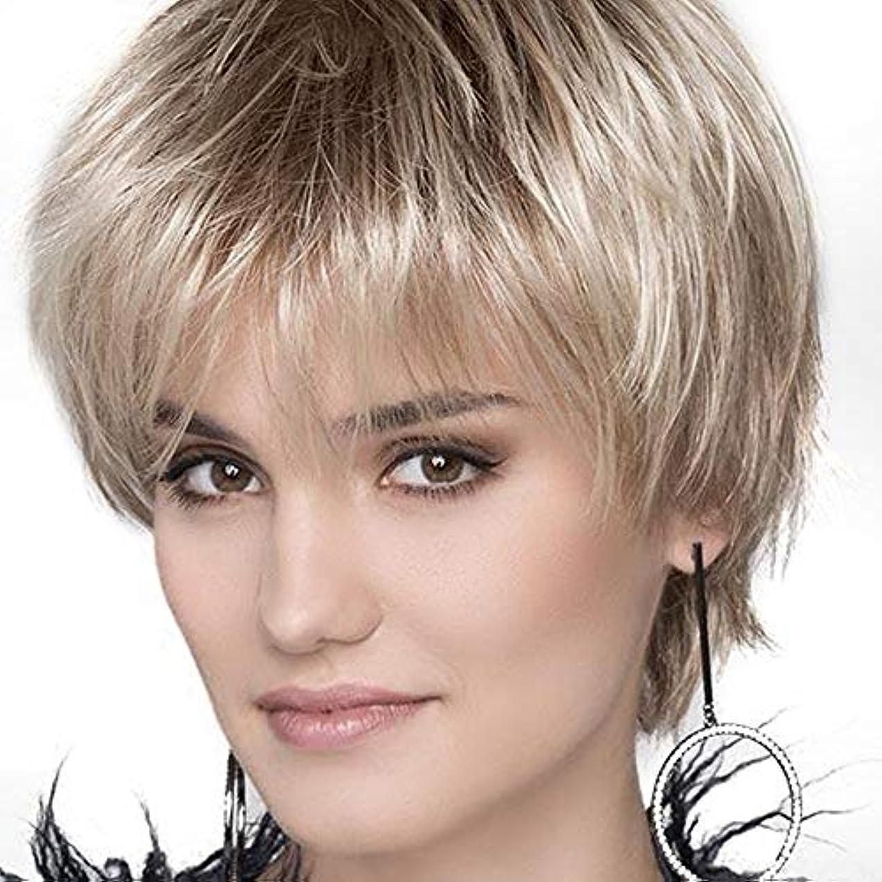 れる罪悪感会員YOUQIU 女性アッシュブロンドカーリーウィッグかつら用オンブルブロンドショートボブウィッグ (色 : Blonde)