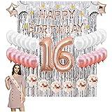 16歳の誕生日デコレーションキット ローズゴールド ハッピーバースデー バルーンバナー 40インチ 数字 16 バルーン スイート16 誕生日サッシュ 16歳の女の子用パーティー用品 (ローズゴールド)
