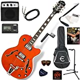 EPIPHONE エレキギター 初心者 入門 ビグスビーのトレモロユニットを搭載したフルアコ ミニアンプが入ったお手軽13点セット Epiphone Swingster/OR(サンライズオレンジ)