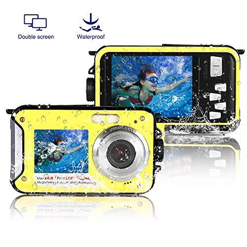 防水カメラ デジカメ 防水 デジタルカメラ 水中カメラ フルHD 1080P 24.0MP スポーツカメラ アクションカメラ デュアルスクリーン オートフォーカス 水に浮く ケース不要(黄)