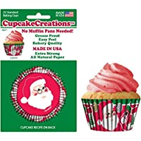 """Cupcake Creations 2""""Height BAKING CUPS Santa 32 Pack No Muffin Pan Needed"""
