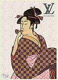 ルイ・ヴィトン キャンバスポスター 喜多川歌麿 Louis Vuitton ダミエ オマージュアート Canvas Poster #sh01 STAR DESIGN A3サイズ(297×420mm)