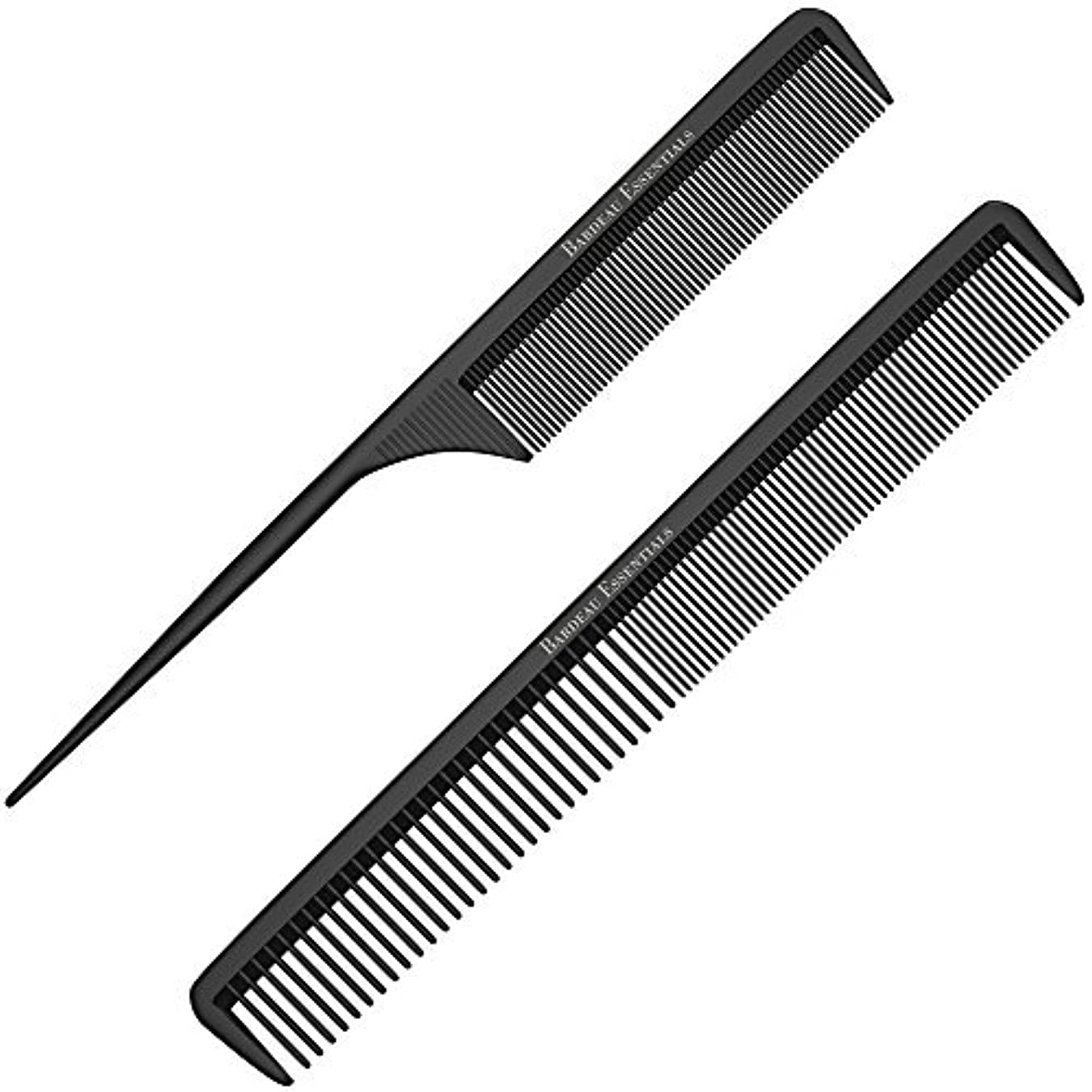 Styling Comb and Tail Comb Combo Pack | Professional 8.75  Black Carbon Fiber Anti Static Chemical And Heat Resistant...