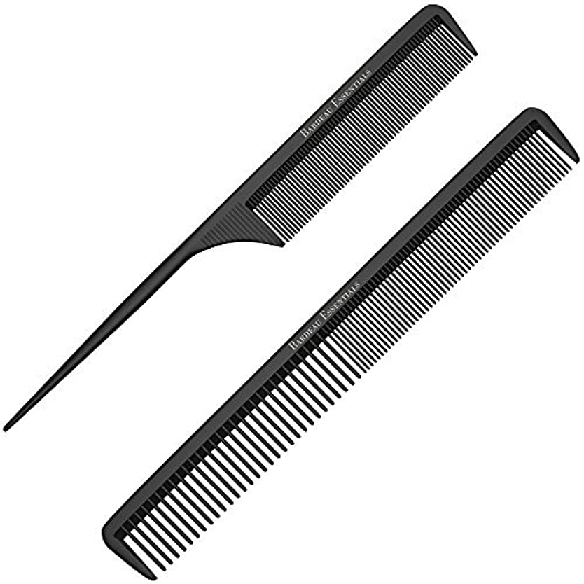 寝室くつろぎStyling Comb and Tail Comb Combo Pack | Professional 8.75  Black Carbon Fiber Anti Static Chemical And Heat Resistant...