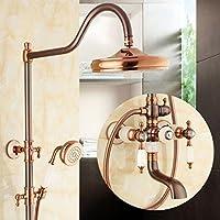 ALUP- アメリカンスタイルの天然翡翠シャワーデバイスシャワーセットヨーロッパスタイルのすべてのブロンズ模造の古代高温と冷たい蛇口シャワーデバイス (色 : A)