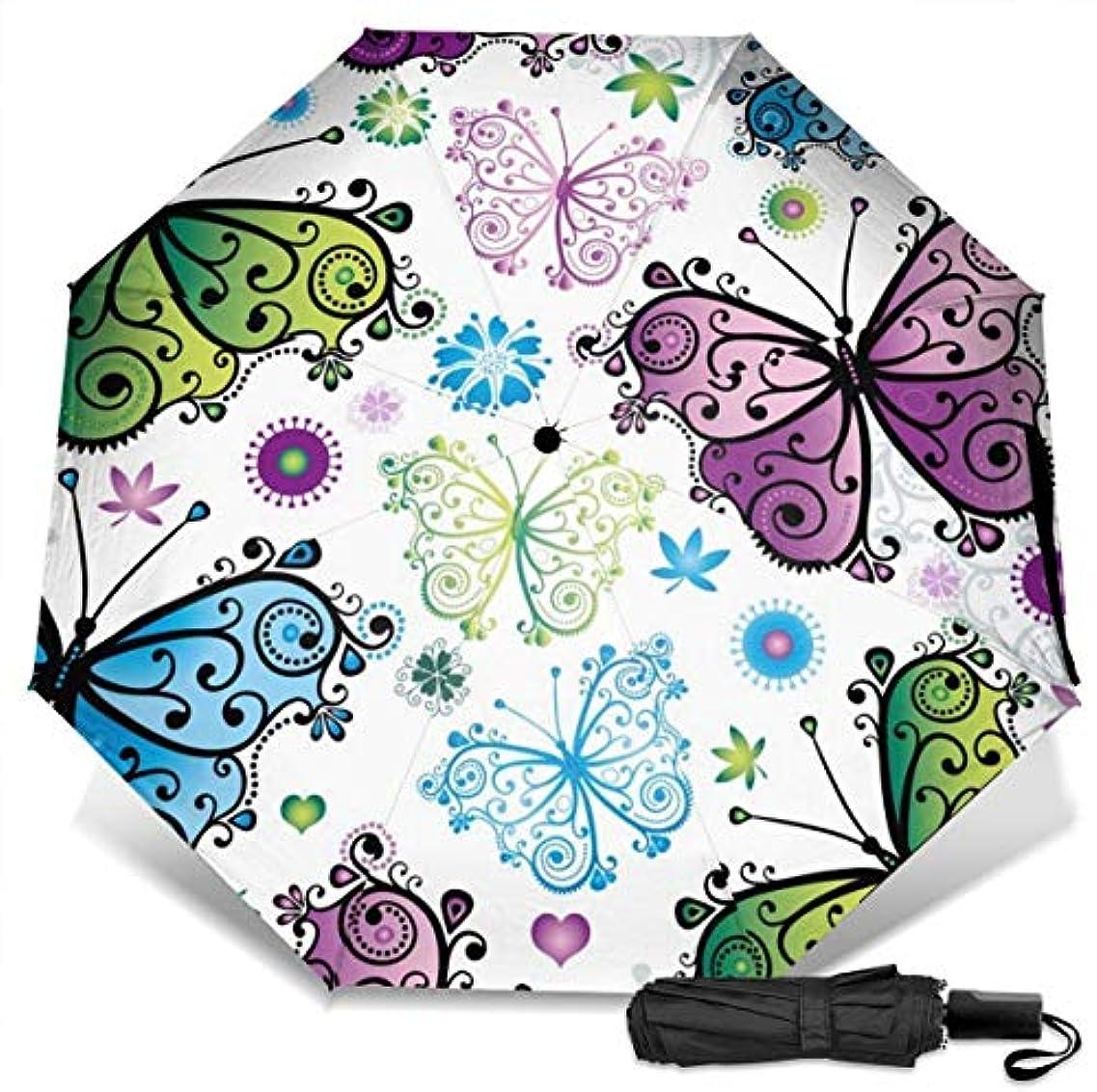 クリア迅速彼女自身美しい空飛ぶ蝶折りたたみ傘 軽量 手動三つ折り傘 日傘 耐風撥水 晴雨兼用 遮光遮熱 紫外線対策 携帯用かさ 出張旅行通勤 女性と男性用 (黒ゴム)