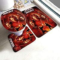 Cool Star-Wars 3件式バスルーム滑り止めマットは3 Dカスタムu字型便器マット、バスマット、ポペットカバーなどを含む