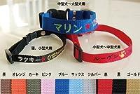 刺繍ネーム首輪(迷子札首輪) Mサイズ 名前入り 小型犬 中型犬 オレンジ