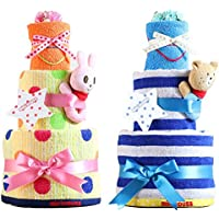 mikihouse(ミキハウス) 使用 おむつケーキ 出産祝い 名入れ刺繍 3段 オムツケーキ 今治タオル imabari towel (パンパーステープタイプSサイズ, ブルーのリボン 男の子向け)