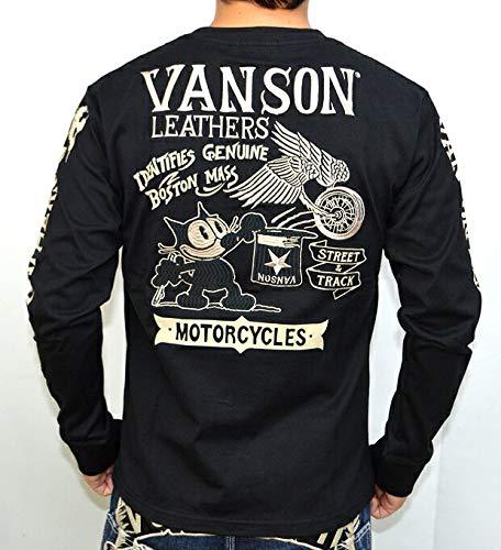 VANSON X FELIX THE CAT バンソン 長袖Tシャツ FXV-620 フィリックス コラボ フェリックス ブラック色 バイカー アメカジ サイズS