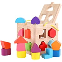 QZM Shape Sorter Toy with 19穴My First Wooden Toys Shapes and 12カラーソリッド木製ジオメトリ形状Matchingとソートパズルピースfor Toddlers – 学習と教育玩具子供用