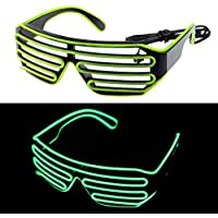 [Ansee]Ansee LED Glasses 3Mode Sound Control Light Up El Wire Party Concert Green + Black GETDSS435324 [並行輸入品]