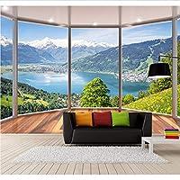 Weaeo カスタム3Dステレオ写真の壁紙3Dバルコニー床Windowsの風景テレビのソファの背景壁画リビングルームの寝室の壁紙-200X140Cm