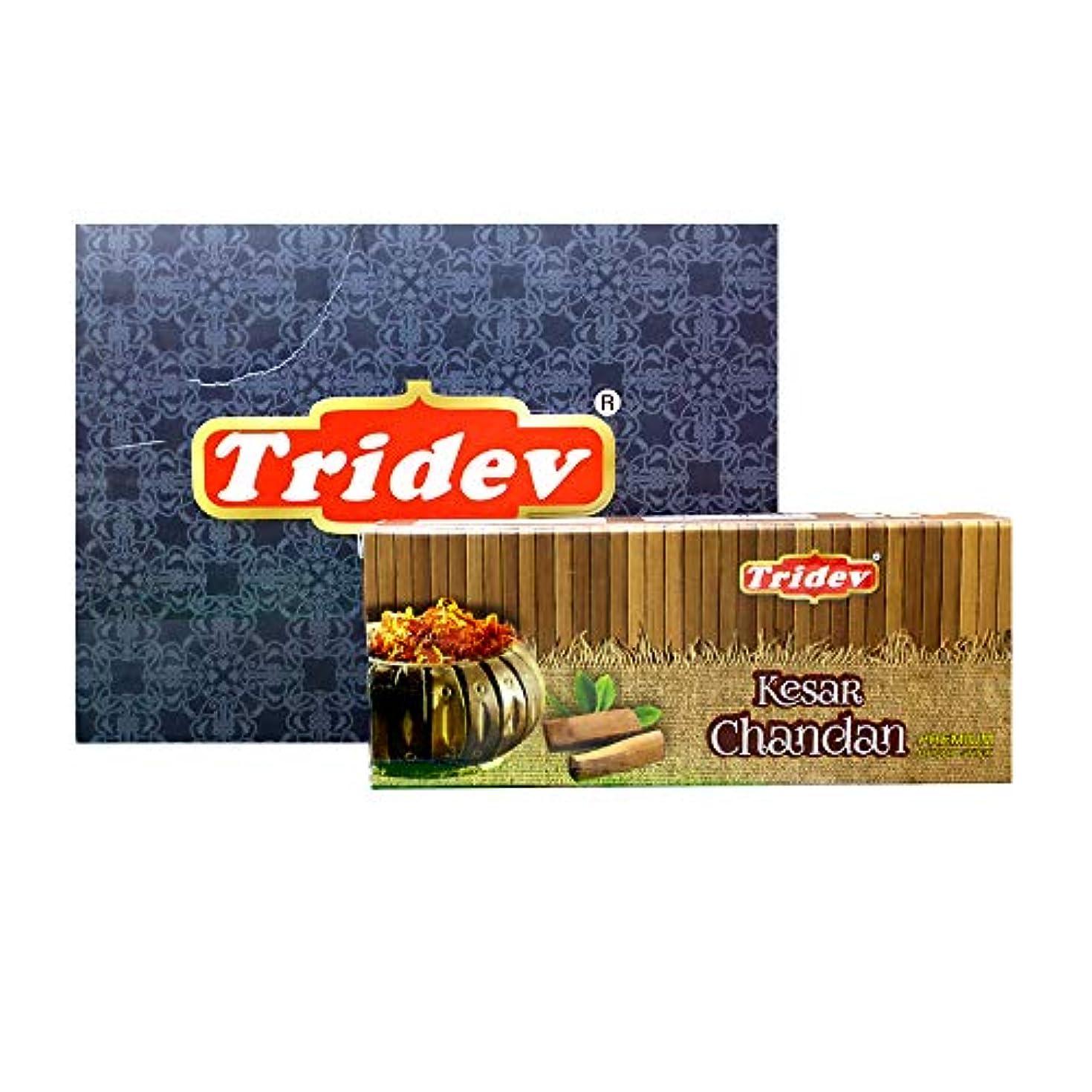 承知しました病気初期Tridev Kesar Chandan プレミアム ドープスティック ボックス | 1箱に75グラム12パック | 輸出品質