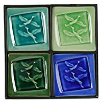 磁器Crackledガラスデザイン4pcプレートセット